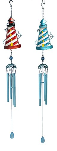 Red and Blug Lighthouses Wind Chimes Set of 2 Metal and (Lighthouse Wind Chime)