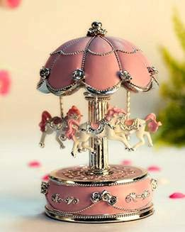 HoneyGifts Laxury Carousel Music Box,Flower Design,Pink