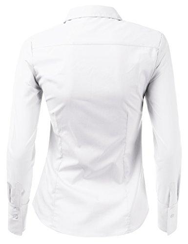 Doublju Womens Slim Fit Business Casual Long Sleeve Button Down Dress Shirt White Medium by Doublju (Image #3)