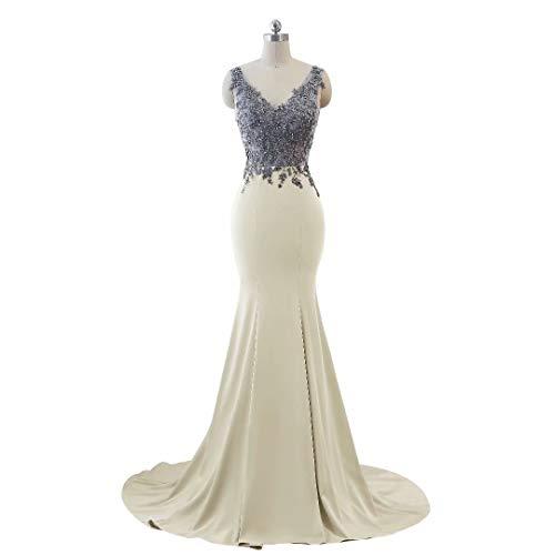 Frauen Abendkleid Doppel Kleider Mermaid Formale V Party Champagner Lange Ausschnitt 4rS6x4wp