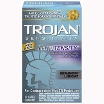 Trojan Thintensity Ultrasmooth Condoms, 12 Count Per Pack (8 Pack)