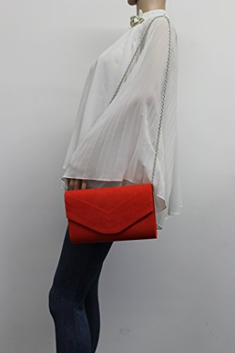 Clutch Scarlet Faux Suede SwankySwans Womens Orange Olie Envelope ZTRwUq8