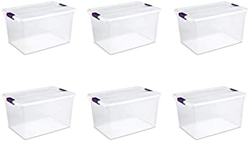 6 Pack Sterilite 66-Quart Nesting Clear Latching Storage Tote