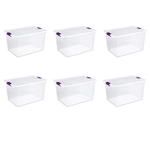 Sterilite 17571706 66 Quart/62 Liter ClearView Latch Box, Clear Lid & Base w/ Sweet Plum Latches, 6-Pack -