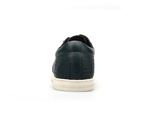 GRRONG Zapatos De Cuero De Los Hombres De Cuero Genuino Negocios Ocio Negro Azul Blue
