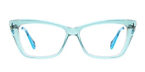 TIJN Bold Translucent Cateye Frame Metal Arm Eyeglasses for - Frames Metal Eyeglass Green