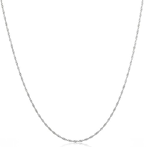 925 Sterling Silver Italian 2MM Singapore (Twisted Curb) Chain Necklace (2mm 16 Inches SING) (Italian Curb Chain)