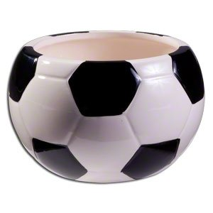 - Decorative Ceramic Soccer Ball Planter/Candy Dish, Black & White, Medium, 3.5