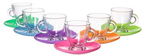 Saucer Herb Cup (Coral Roma Classic European Glassware, 12 Piece Mini Coffee Mug Teacup & Colored Saucer Set, 3.25 fl oz)