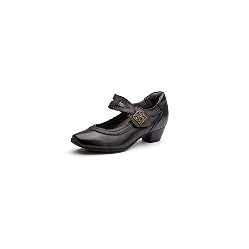 Loop Hook Qiusa Cuero Jane Negro Mary Zapatos color Block Strap Eu Tamaño 36 Negro De T EnXfrqYSX