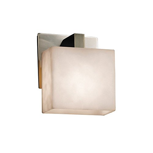 Justice Design Group Lighting CLD-8931-55-NCKL Justice Design Group - Clouds - Modular 1-Light Wall Sconce - Rectangle - Brushed Nickel Finish with Clouds Shade,
