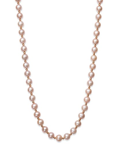 14k Rose Gold 8.0-8.5mm Natural Pink Cultured Freshwater Pearl Strand Necklace,18