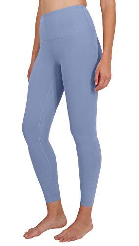 Yogalicious High Waist Ultra Soft Lightweight Leggings - High Rise Yoga Pants - Bella Blue Ankle Length - Medium