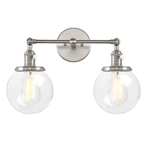Pathson Vintage 2 Light Wall Sconce with Globe Clear Glass Shade, Black Industrial Vanity Light Fixtures for ()