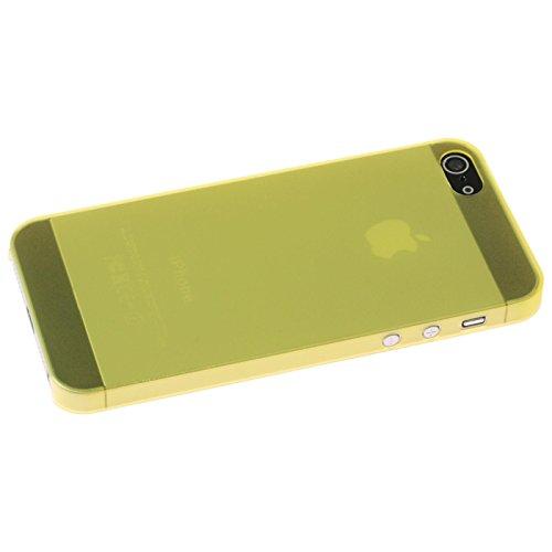 PhoneNatic Case für Apple iPhone 5 / 5s / SE Hülle gelb matt Hard-case für iPhone 5 / 5s / SE + 2 Schutzfolien