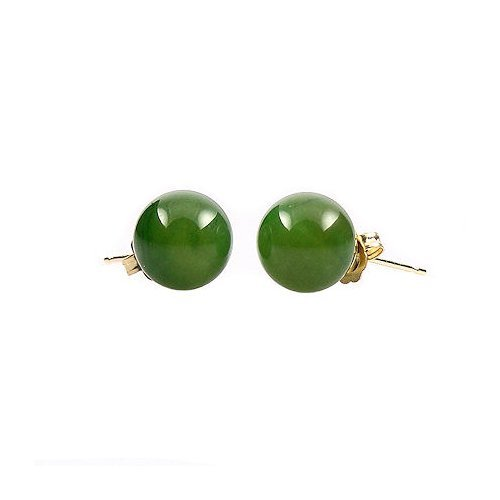 14K Yellow Gold 6mm Natural Nephrite Green Jade Ball Stud Post Earrings (Color Jade Earring)