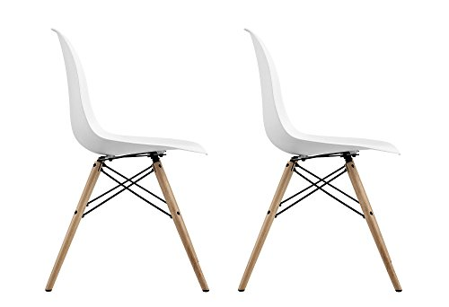DHP Mid Century Modern Chair with Wood Legs, Set of Two, Lightweight, White by DHP (Image #5)