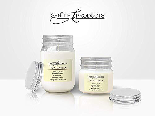 (Gentle K 100% Hand-Poured All Natural Clean Burning Soy Wax Scented Mason Jar Candles with Therapeutic Essential Oil - 13 Fragrances - (Very Vanilla) - (Size - 1x16oz & 1x8oz))