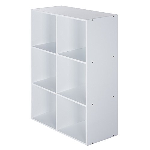 StorageWorks Wooden 3-tier Storage Cube Organizer Shelf, 6 Compartment Storage Unit Cabinet Bookcase White