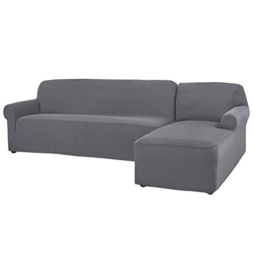 CHUN YI 2 Pieces L-Shaped Jacquard Polyester Stretch Fabric Sectional Sofa Slipcovers (Right Chaise(2 Seats), Light Gray)
