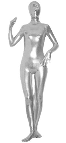 VSVO Unisex Baby Shiny Spandex Skin-Tight Full Bodysuit Zentai Costume (Large, Silver Grey) -