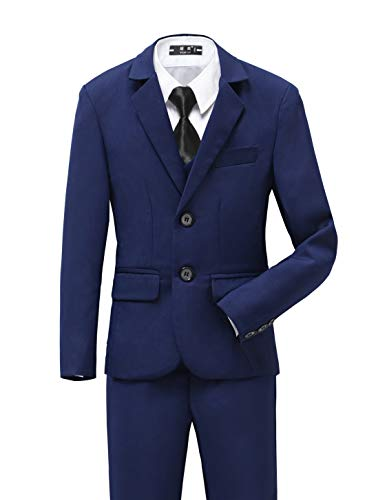 (YuanLu Boys Tuxedo for Kids Toddler Boy Formal Suits Set Ring Bearer Outfit Blue with Black Tie Size)