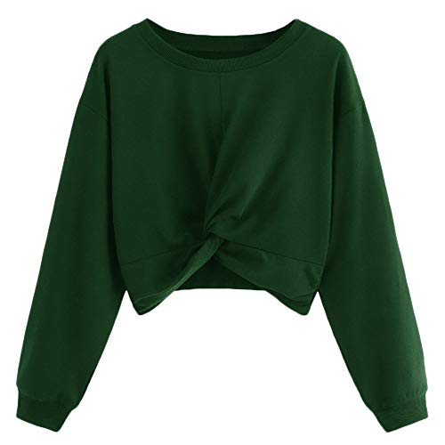 iDWZA Women Pure Color Cute Drop Shoulder Lantern Sleeve Sweatshirt Pullover Top (XL, ()