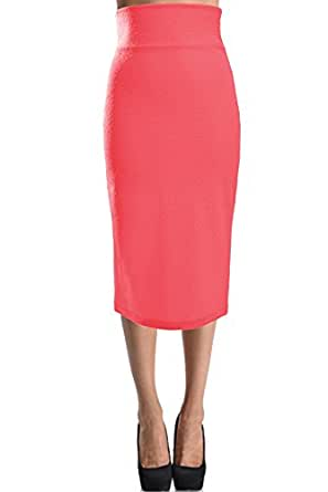 Solid Pencil Skirt (Small, Dark Pink)