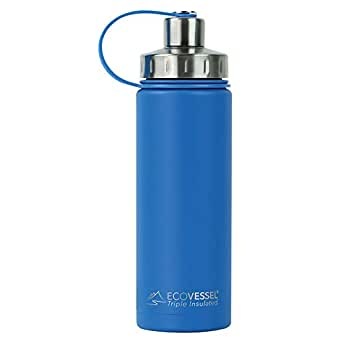 EcoVessel BOULDER TriMax Vacuum Insulated Stainless Steel Water Bottle with Versatile Stainless Steel Top and Tea, Fruit, Ice Strainer - 20 ounce - Hudson Blue