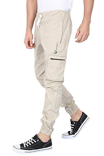 VERSATYL Men's Cotton Slim Fit Twill Jogger Cargo Pants with 4 Zip Pockets for Sports