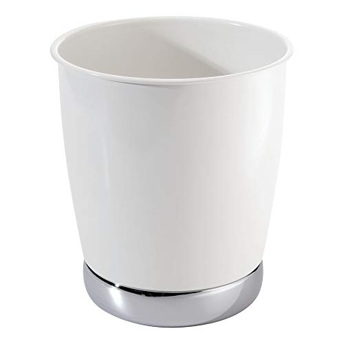 InterDesign York Wastebasket Trash Can, White/Chrome