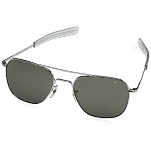 AO Original Pilot 57mm Silver Frame with Bayonet Temples and  Color Correct Gray Polarized Polycarbonate  Lens