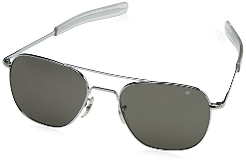 AO Original Pilot 57mm Silver Frame with Bayonet Temples and  Color Correct Gray Polarized Polycarbonate  Lens (First Made Sunglasses Ever)
