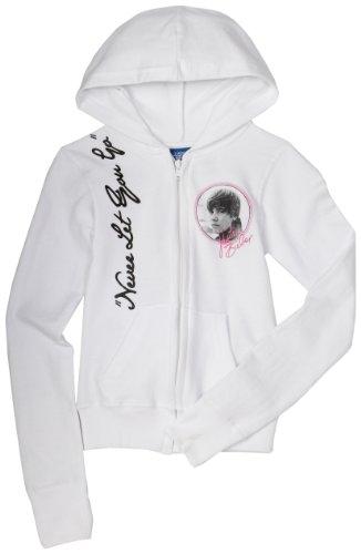 Big Girls' Justin Bieber Long Sleeve Zip Hoodie, White, Small