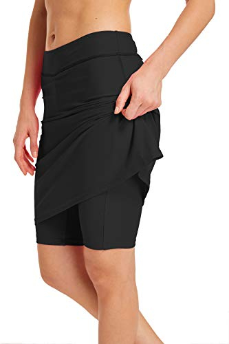 - Aunua Women UPF 50+ Active Skirted Shorts Swimming Skorts Capris with Skirt Sun Protection(HW9003 Black S)