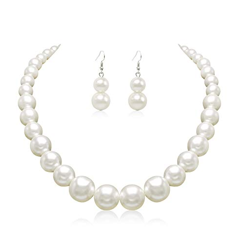 Colorose Faux Pearl Necklace Earring Set for Women Silver Plated Round Beads Strand Costume Jewelry