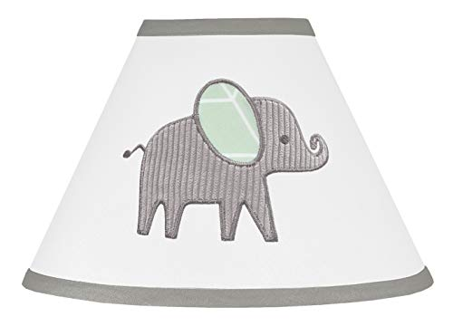 Sweet Jojo Designs Mint, Grey and White Lamp Shade for Watercolor Elephant Safari Collection