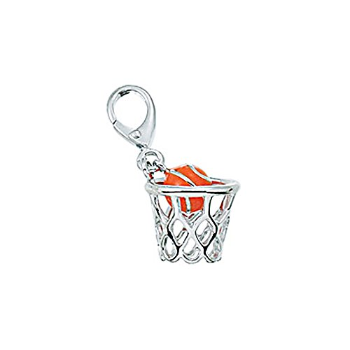 - Zable Sterling Silver Enamel Basketball Clip-On Bead Charm (11 X 13 mm)