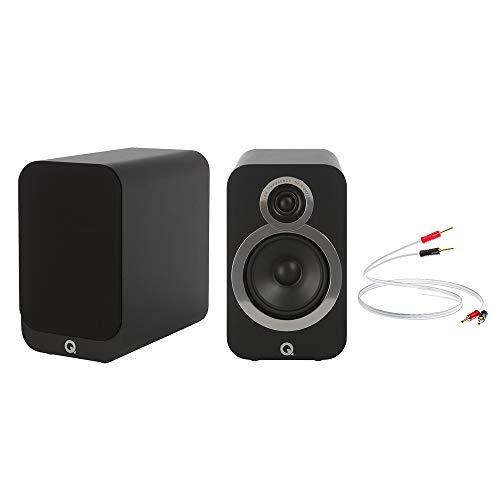 Q Acoustics 3020i Bookshelf Speakers (Pair) + QED XT25 Speaker Cable 2M, 6.5ft (Pair) (Carbon Black)