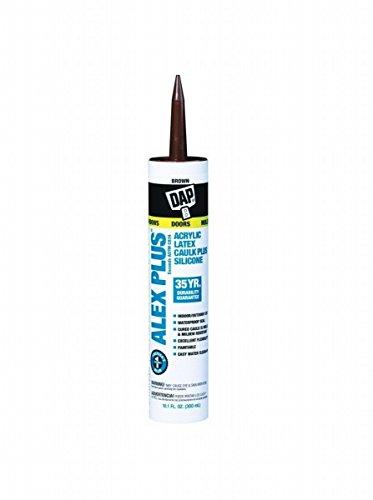 Dap 18120 2 Pack 10.1 oz. Alex Plus All Purpose Acrylic Latex Caulk Plus Silicone, Brown (Silicone Rubber Purpose All)