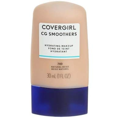 CoverGirl Aqua Smoothers Liquid Makeup, Natural Beige [740] 1 oz (Pack of 2) - Smoothers Hydrating Foundation