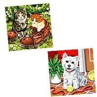 Reeves PPDS5 - Paint by Numbers twin pack, juego de pintura por números, diseño de gatos y perro