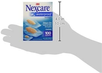 Nexcare Waterproof Bandages Family Pack Assorted Sizes, 100 Count