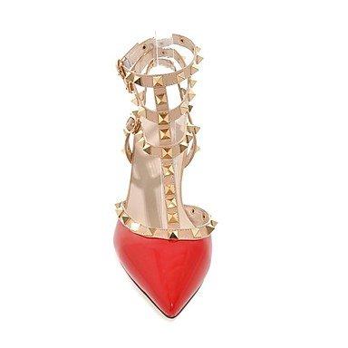 LvYuan Mujer-Tacón Stiletto-Confort Talón Descubierto Zapatos del club-Sandalias-Oficina y Trabajo Vestido Fiesta y Noche-Cuero Patentado-Negro Red