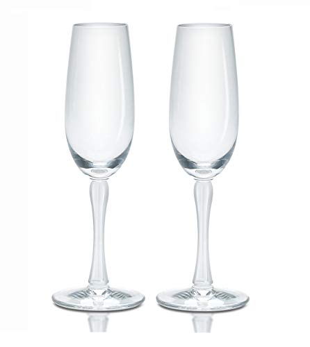 Lalique Crystal Royal Set of 2 Champagne Flutes