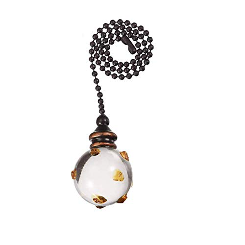 Saim Ceiling Light Fan Pull Chains 12 inches Decorative Pullchain Ornament Vintage Hanging Pendants Crystal Swirl Glass Ball Chain Pulls with Dots for Ceiling Lights, Fans, DZ006,Pack of 1