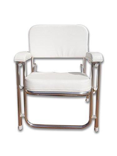 Pactrade Marine Folding Deck Chair White UV Resistant Vinyl 1