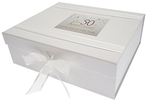 Cotton Keepsake (white cotton cards AW50LK Large 50th Golden Anniversary Memories of This Year Keepsake Box Glitter and Words by WHITE COTTON CARDS)