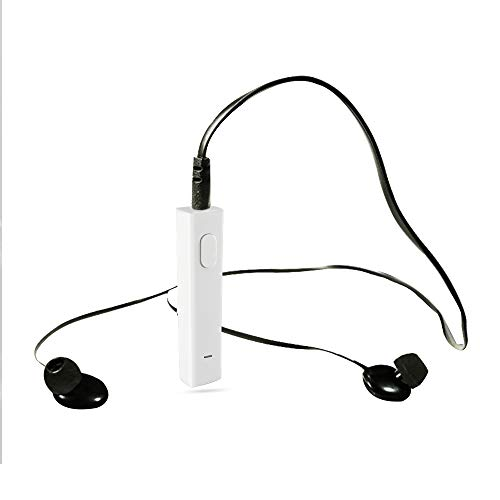 Bluetooth Receiver/Car Kit, Portable Wireless Audio Adapter 3.5mm with Clip, Built-in Microphone for Sports/Car/Speaker/Home Audio System, White Color