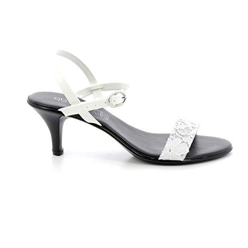 7 Cinturino cm Alti con Nero Tacco Multicolor Sandali amp;Scarpe Bianco Caviglia Obsel con alla Scarpe by IwxR7xqYP